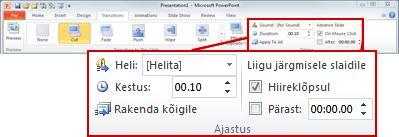 PowerPoint 2010 lindi menüü Üleminekud jaotis Ajastus.