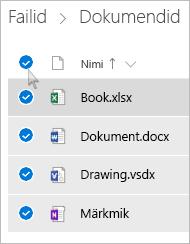 Kuvatõmmis OneDrive'is kõigi failide ja kaustade valimisest