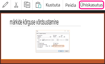 Ühiskasutuse käsk PowerPointi Androidi versioonis