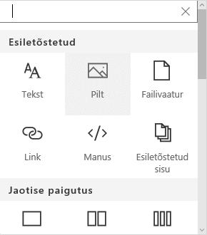 SharePointis pildi veebiosa valimise kuvatõmmis.