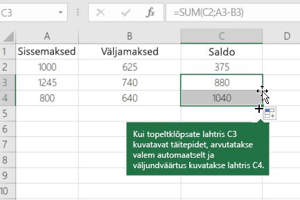 Töötava saldo arvutamise näide
