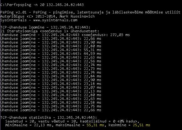PSPingi käsk psping -n 20 132.245.24.82:443, mis tagastab keskmise latentsusaja 25,51 millisekundit.