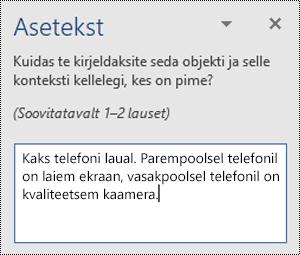 Aseteksti paan, mille asetekst on Word for Windowsis.