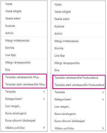 """Outlooki veebirakenduse käsud """"Teisalda vahekaardile Fookustatud"""" ja """"Teisalda vahekaardile Muu"""""""