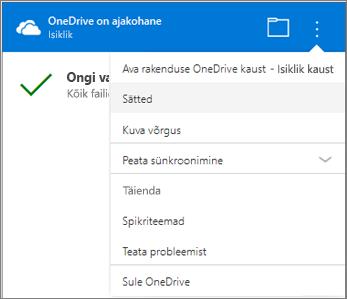 OneDrive'i sünkroonimisprobleemide tegevuse keskele veel sätteid