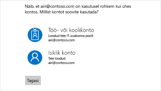 Kahe meiliaadressiga ekraanile sisselogimine