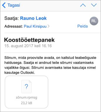 Kaitstud sõnumeid ei kuvata iOS-i rakenduses Mail siis, kui teie administraator pole seda lubanud.