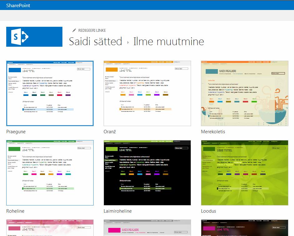 Ilme valimine SharePoint Online'i avaldamissaitide kujunduste seast