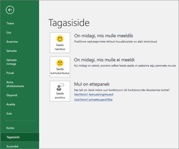 Kui teil on Exceli kohta kommentaare või ettepanekuid, millest soovite Microsoftile teada anda, valige Fail > Tagasiside.