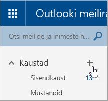 Kuvatõmmis Outlook.com-i nupust Loo uus kaust.