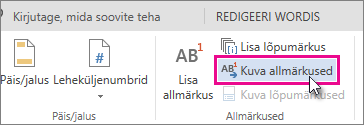Show Footnotes button in Word Online