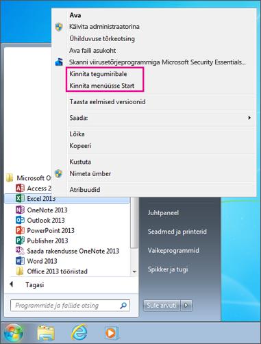 Office'i rakenduse kinnitamine Windows 7 avakuvale või tegumiribale