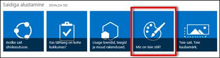 SharePoint Online'i äsjaloodud sait, millel kuvatakse saidi edasiseks kohandamiseks kasutatavad klõpsatavad paanid