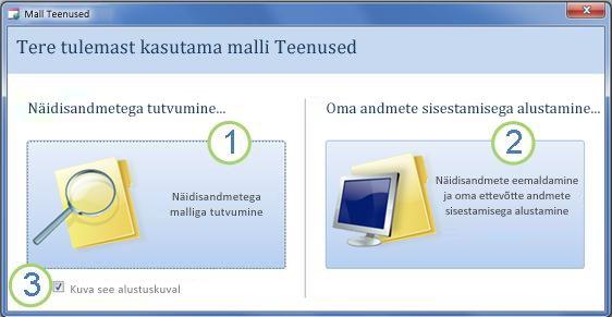 Teenuste veebiandmebaasi malli käivitusvorm