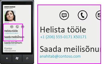 Kuvatõmmis – rakenduse Lync mobiiliklientidele tegevused (nt helistamine)