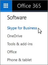Office 365 tarkvara loendi Skype'i ärirakenduse abil