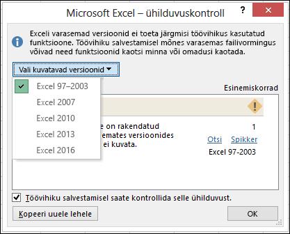 Exceli dialoogiboks Ühilduvuskontroll