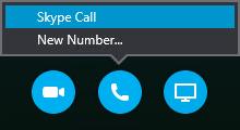 Valige Skype'i kõnega ühenduse loomiseks Helista või laske koosolekul endale helistada