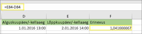 =E84-D84 ja tulem 1.041666667