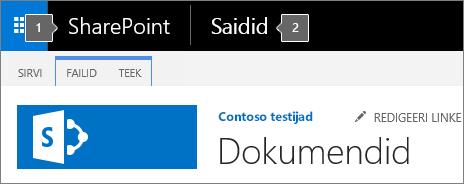 SharePoint 2016 kuva vasakus ülanurgas kuvatav rakendusekäiviti ja pealkiri