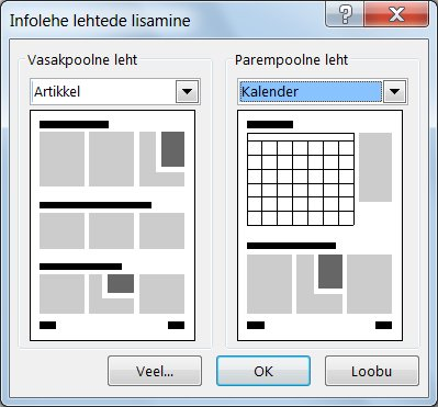 Infolehe uute lehtede lisamine dialoogiboksi Infolehe lehtede lisamine abil