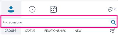 Kui Skype'i ärirakenduse otsinguväli on tühi, on saadaval vahekaardid Rühmad, Olek, Seosed ja Uus.