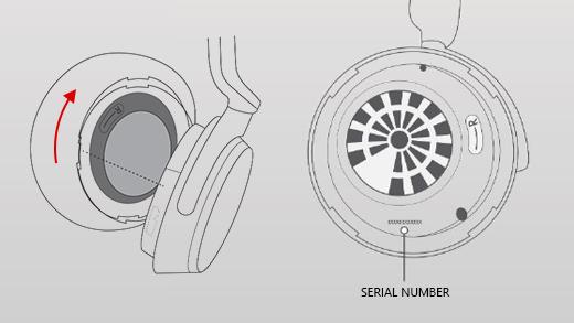 Pilt, mis näitab, kuidas eemaldada Surface kõrvaklapid õige earmuff.
