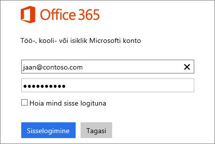 Office 365 sisselogimispaani kuvatõmmis