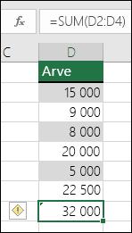 Excel kuvab veaväärtuse, kui valem jätab vahemikus lahtreid vahele