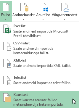 Dialoogiboksi Power Query > Failist > Kaustast suvandid