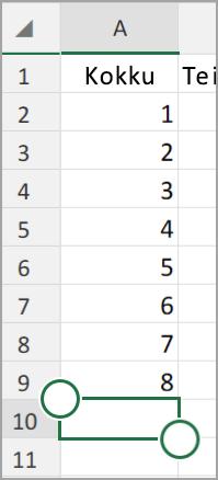 Androidi tahvelarvutis Exceli Automaatsumma