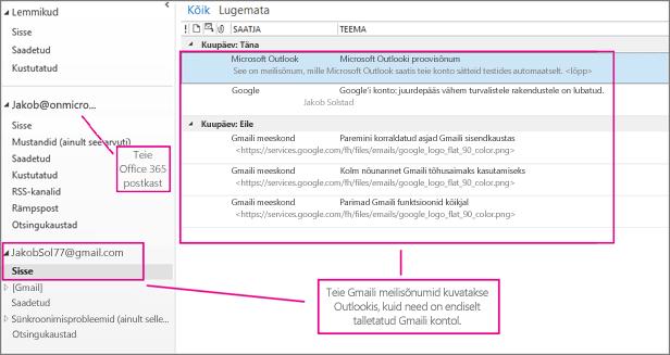 Pärast Gmaili konto lisamist kuvatakse Outlookis kaks kontot
