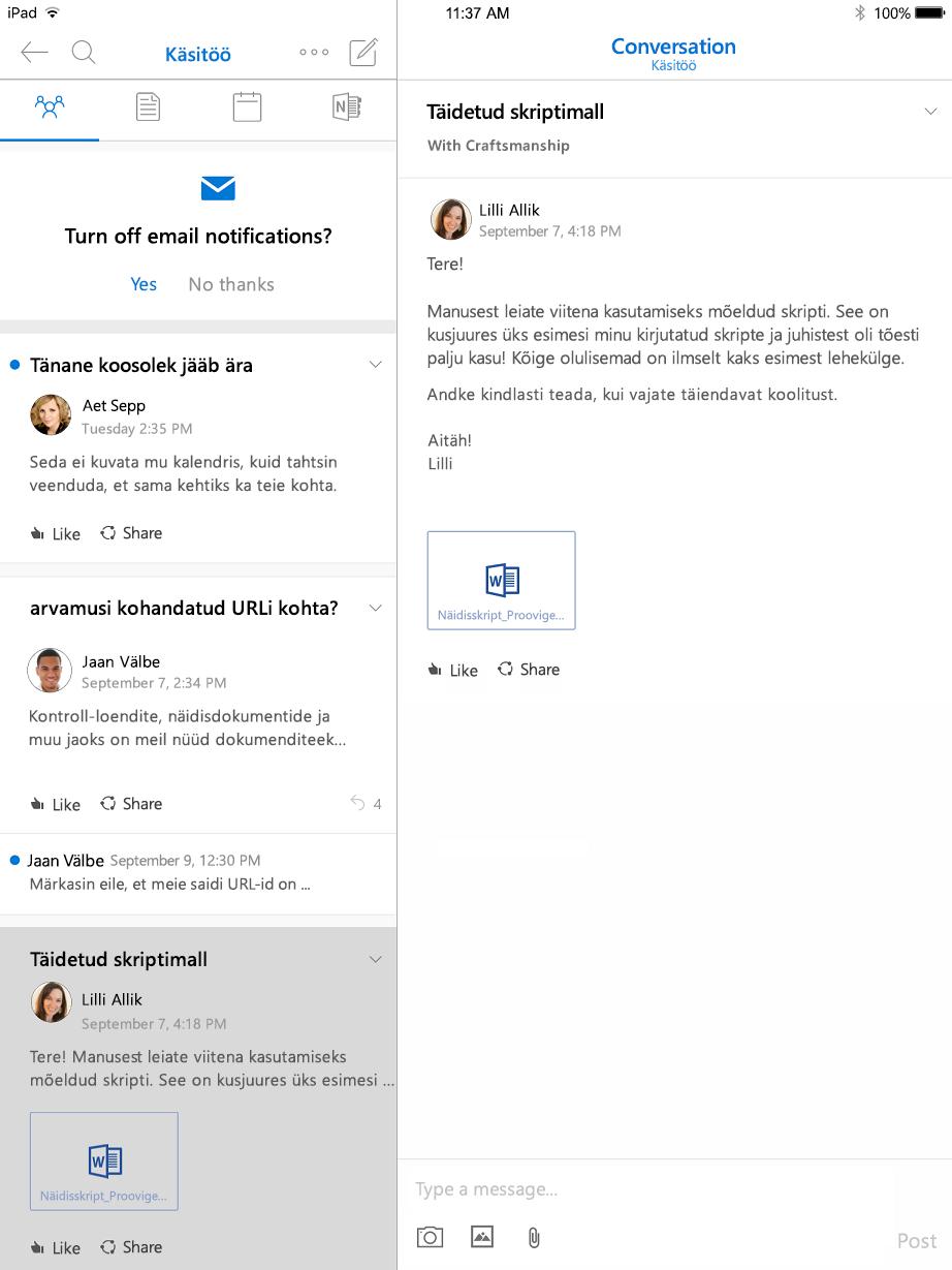 Vestlusvaade Outlooki rühmade iPadi jaoks