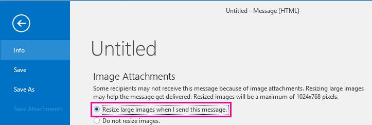 Selle suvandi klõpsamisel saate lasta Outlookil piltide saatmise korral muuta nende suurust.