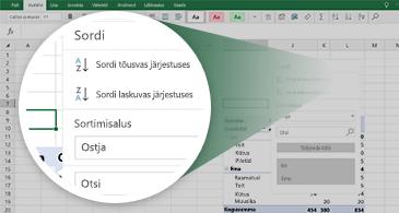 Exceli tööleht, kus on kujutatud PivotTable-liigendtabel ja esile tõstetud saadaolevate funktsioonide komplekt