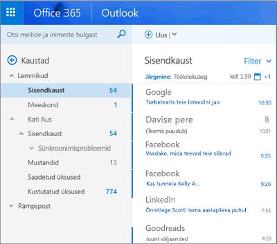 Outlooki veebirakenduse põhivaade
