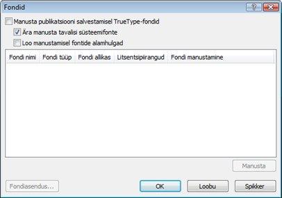 Manusfontide haldamine rakenduses Publisher 2010