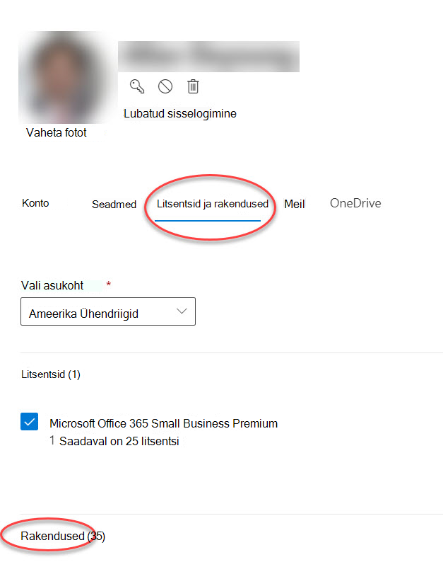 Microsoft 365 halduskeskus (konto suvandite vorm)