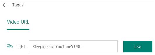 Rakenduse Microsoft Forms YouTube'i video välja lisamine