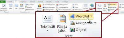 Exceli menüü Lisa, mille WordArt-objekti lisamise nupp on esile tõstetud.