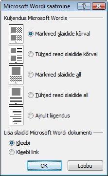 Dialoogiboks Microsoft Wordi saatmine