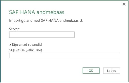 Exceli Power BI dialoog SAP HANA andebaasi importimiseks