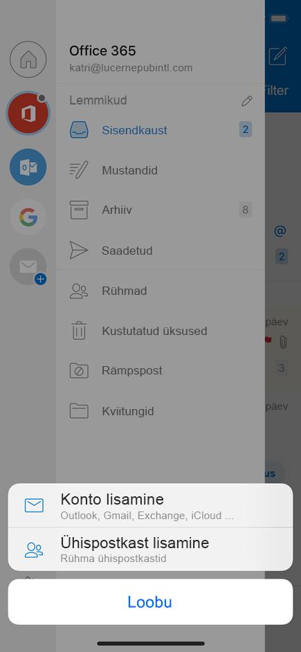 Ühispostkasti lisamine Outlooki mobiilirakendusse.