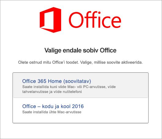 Office 2016 for Maci litsentsitüübi valimine