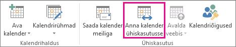 Nupp Kalendri ühiskasutus Outlook 2013 menüüs Avaleht