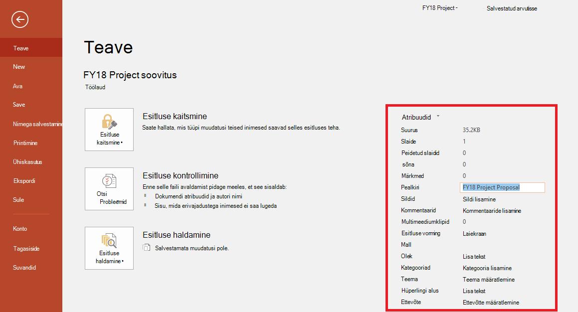 Office'i dokumendiatribuudid – Fail > teabepaan