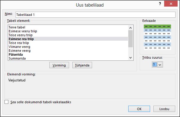 Dialoogiboksi Uus tabelilaad suvandid kohandatud tabelilaadi rakendamiseks
