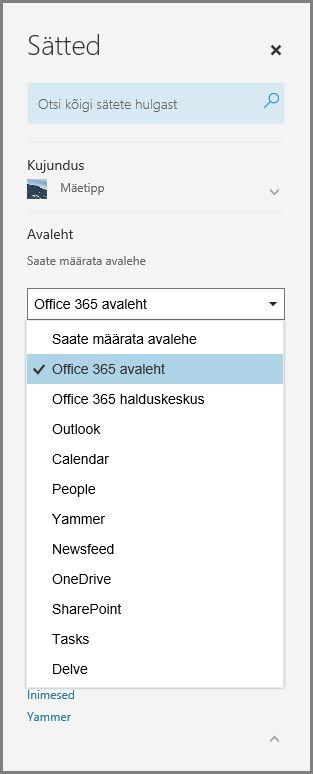 Teenusekomplekti Office 365 avalehe muutmine