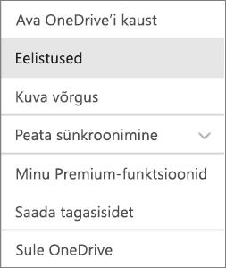 Tegevuskeskus OneDrive'i Maci versioonis