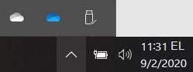 OneDrive ' i isiklikud ning töö-või kooli sünkroonimise ikoonid.
